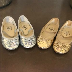 2 pairs Gap toddler shoes gold & silver